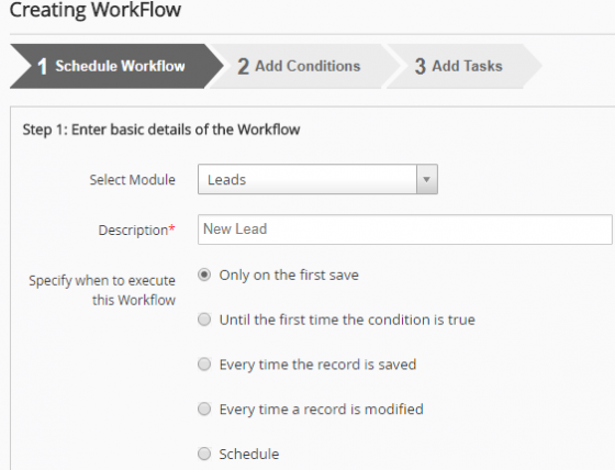 Come Creare e Impostare Un Workflow su vtiger step 2